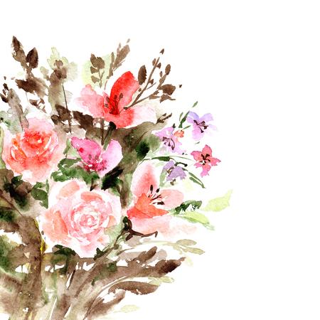 Floral greeting card. Watercolor roses. Wedding floral design. Banco de Imagens