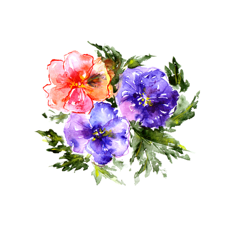 Floral bouquet. Watercolor flowers. Floral greeting card.