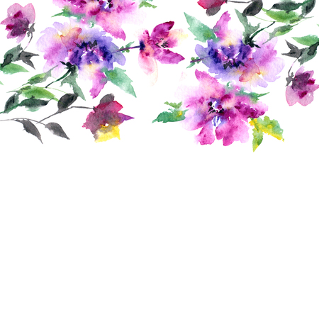 Floral card. Wedding invitation with watercolor flowers.