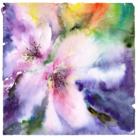 Abstract floral background. Watercolor flowers.