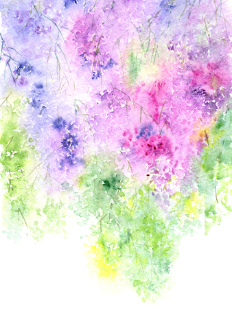 Lilac floral background. Watercolor flowers. Floral greeting card.