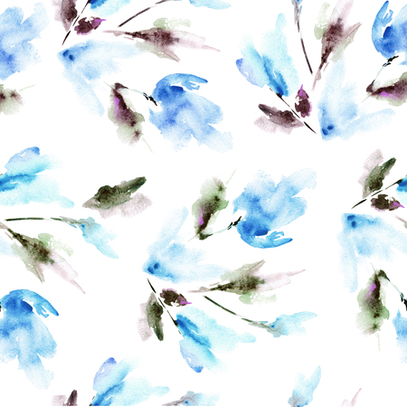 Seamless floral pattern with blue tulips. Watercolor floral background.
