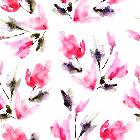 Seamless floral pattern with red tulips. Watercolor floral background.