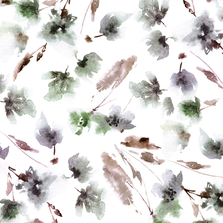 Seamless vintage flowers background. Seamless floral pattern.