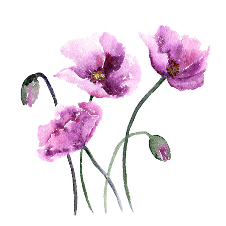 Pink poppies. Watercolor flowers. Greeting card. Wedding invitation template. Floral card. Pink spring flowers. Floral bouquet. Watercolor floral wall art painting for home decor. Stock Photo