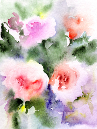 Pink roses. Watercolor flowers. Greeting card. Wedding invitation template. Floral card. Pink spring flowers. Floral bouquet. Watercolor floral wall art painting for home decor. Stock Photo