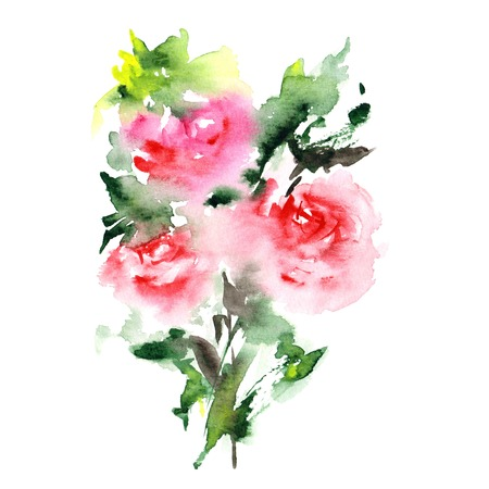 Red roses. Watercolor flowers. Greeting card. Wedding invitation template. Floral card. Pink spring flowers. Floral bouquet. Watercolor floral wall art painting for home decor. Stock Photo