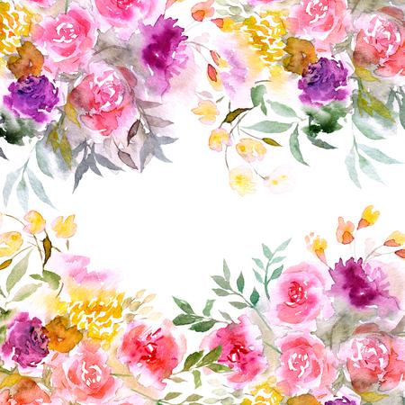 花の背景。水彩花の花束。誕生日カードや結婚式招待状。花の境界線。花のフレーム