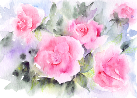 Greeting card with roses. Watercolor floral bouquet. Floral background. Birthday card or wedding invitation.