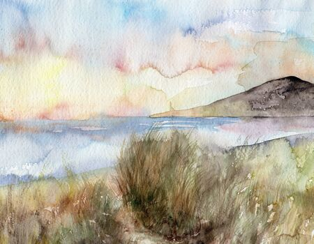 Landscape with river and hills. Summer watercolor background.