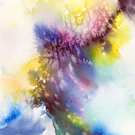 original single: Abstract background with watercolor blue. green, yellow splashes. Abstract painting for interior. Interior wall art.