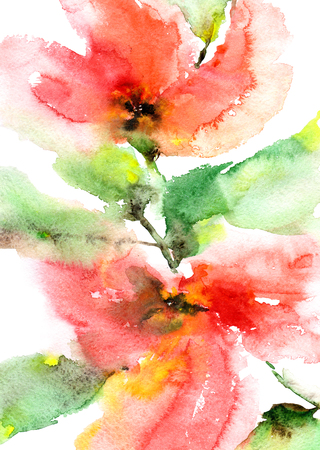 Floral pattern. Watercolor floral background. Greeting card. Wedding invitation with red flowers. Stock Photo
