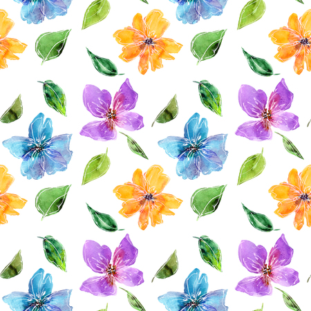 Seamless floral background. Fabric floral pattern. Textile pattern template. Color flowers. Watercolor floral background. Multicolor drawing flowers for decor. Wedding invitation design.