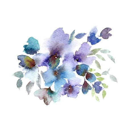 Watercolor blue floral bouquet. Wedding floral design