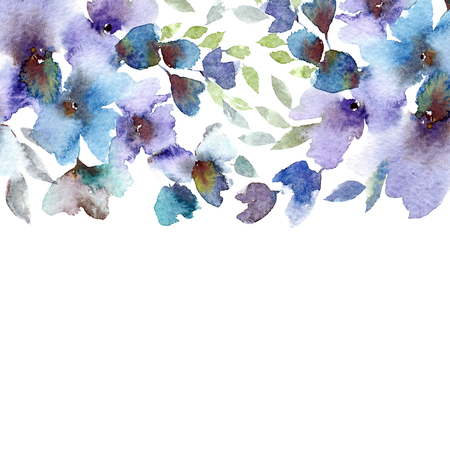 Floral frame. Watercolor blue flowers. Wedding design with drawing flowers.