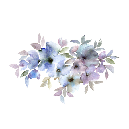 Watercolor blue flower. Floral greeting card. Imagens