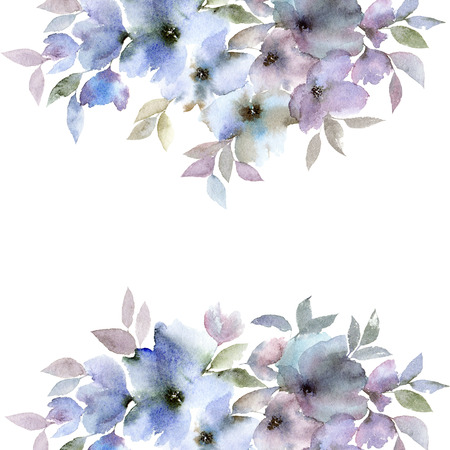 Floral frame. Floral border. Watecolor blue flowers. Floral greeting card.