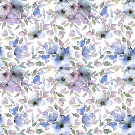 Floral seamless pattern. Blue floral background.