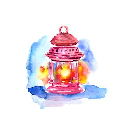 Drawing lattern. Watercolor magic lattern. Light. Banco de Imagens
