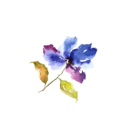 Watercolor blue flower. Floral greeting card. Banco de Imagens