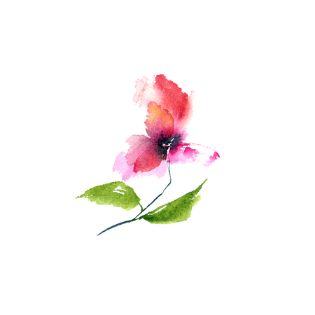 Watercolor pink flower. Floral greeting card. Imagens