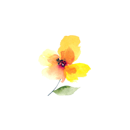 Watercolor yellow flower. Floral greeting card.