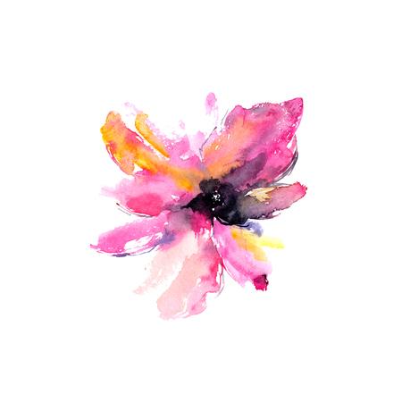 Watercolor pink flower. Floral greeting card. Banco de Imagens