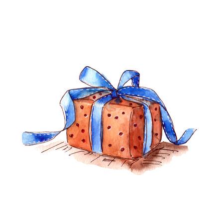 Gift box. Drawing greeting box