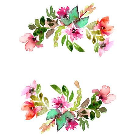 Floral frame. Floral border. Watecolor flowers. Floral greeting card. Imagens