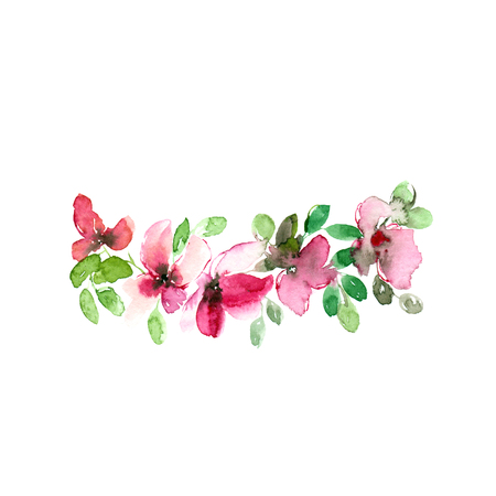 Watercolor floral decor. Pink flowers. Floral greeting card.