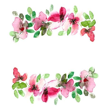 Floral frame. Floral border. Watecolor flowers. Floral greeting card. Banco de Imagens