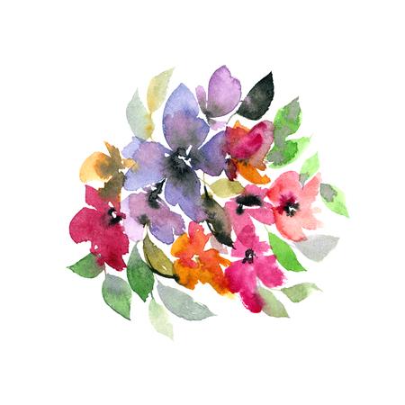 Watercolor flowers. Floral bouquet. Wedding floral design.