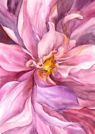 Flower bud. Watercolor pink flower. Wedding invitation floral design. Imagens