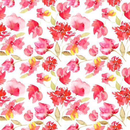 Seamless pattern with red flowers. Floral seamless background. Banco de Imagens