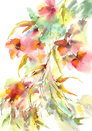 Floral background. Watercolor abstract flowers. Delicate colorful flowers. Wedding floral design. Floral wall art. Banco de Imagens