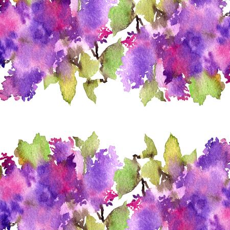 Floral frame. Lilac bouquet. Watercolor flowers. Wedding invitation design.