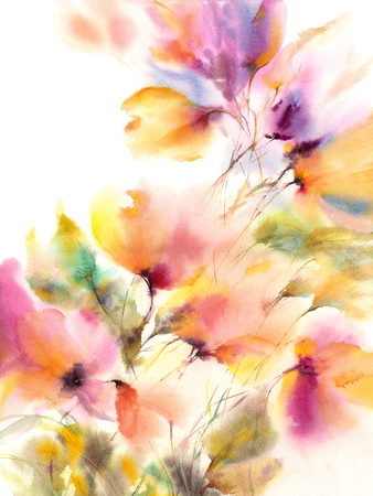 Floral background. Watercolor floral painting. Delocate colorful flowers. Floral wall art. Abstract flowers art. Imagens
