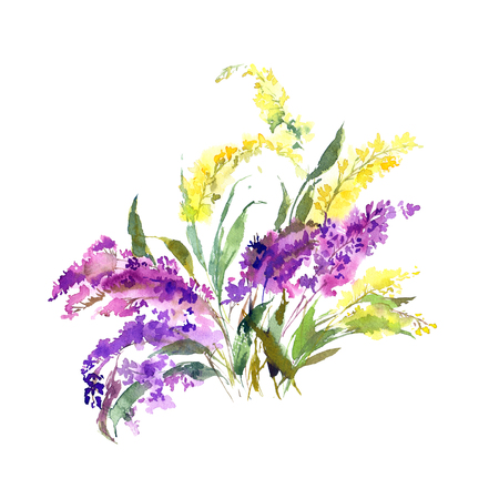 Floral bouquet. Birthday greeting card with colorful flowers. Watercolor purple and yellow flowers. Wedding invitation floral design.