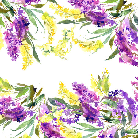 Floral wedding design. Floral decorative border. Watercolor flowers. Floral greeting card with yellow and yellow flowers.