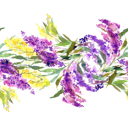 Floral wedding design. Seamless floral pattern. Floral decorative border. Watercolor flowers. Floral greeting card with yellow and yellow flowers. Imagens