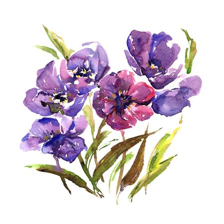 Violet flowers. Floral bouquet. Watercolor purple flowers. Wedding invitation floral design. Drawing color bouquet.