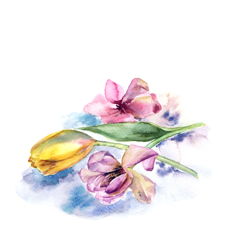 Watercolor tulips bouquet. Pink spring flowers. Flral decorative border.