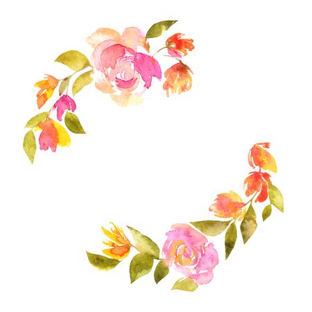 Corona floreale con delicati tulipani rosa. Cornice floreale, biglietto di auguri floreale.