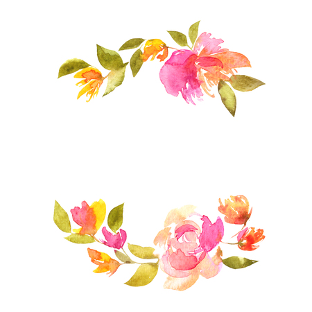 Floral wreath with pink delicate tulips. Floral frame, Floral greeting card.
