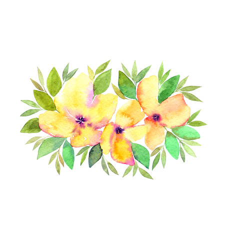 Wedding floral bouquet. Watercolor flowers. Floral greeting card. Yellow flowers.