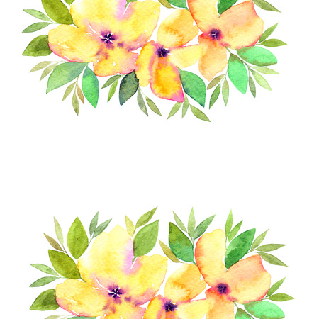 Floral greeting card with yellow flowers. Floral frame.