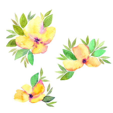 Wedding flowers set. Watercolor flowers. Floral greeting card. Yellow and pink flowers.