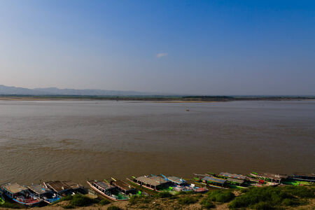 Irrawaddy River  ,  Bagan in Myanmar  Burmar  photo
