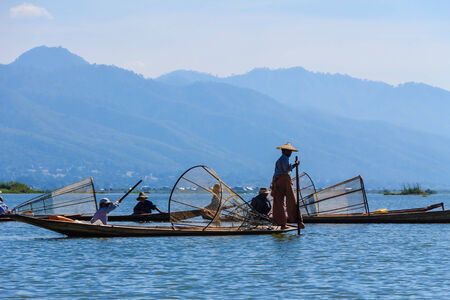 Fisherman ,  inle lake in Myanmar  Burmar