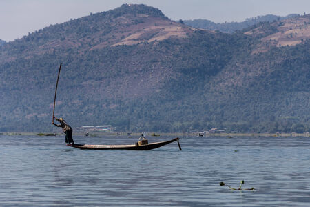 Fisherman ,  inle lake in Myanmar  Burmar  photo